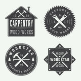 Set Of Vintage Carpentry And Mechanic Labels, Emblems And Logo Royalty Free Stock Photos