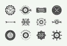Free Set Of Vintage Mechanic Label, Emblem, Badge And Logo. Vector Illustration. Stock Image - 141541371