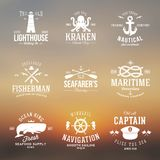 Set Of Vintage Nautical Labels Or Signs With Retro Stock Photography