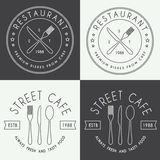 Set Of Vintage Restaurant Linear Vector Logo, Badge And Emblem Royalty Free Stock Image