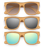Set Of Vintage Sunglasses With Wooden Frame. Retro Royalty Free Stock Image