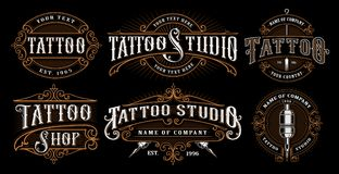 Free Set Of Vintage Tattoo Emblems. Royalty Free Stock Photo - 119718255