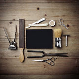 Set Of Vintage Tools Of Barber Shop With Black Poster Stock Photo