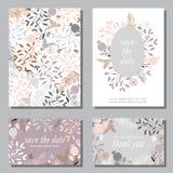 Set Of Vintage Wedding Invitation Cards. Royalty Free Stock Photography