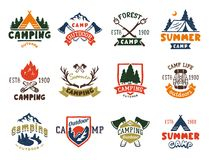 Free Set Of Vintage Woods Camp Badges And Travel Logo Hand Drawn Emblems Nature Mountain Camp Outdoor Vector Illustration. Stock Photography - 118448102