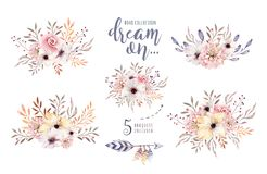 Free Set Of Watercolor Boho Floral Bouquets. Watercolour Bohemian Natural Frame: Leaves, Feathers, Flowers, Isolated On White Stock Photo - 100351140