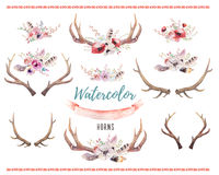 Free Set Of Watercolor Floral Boho Antler Print. Western Bohemian De Stock Photos - 75771443