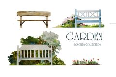 Free Set Of Watercolor Garden Benches For Landscape Design, Hand Painted In Fromt View And Isolated On White Background. Royalty Free Stock Photo - 178473215