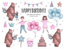 Free Set Of Watercolor Happy Birthday Elements Bear Hugs Balloons Girl Boy Stock Photography - 138840432