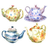 Set Of Watercolor Teapot On A White Background Stock Photography