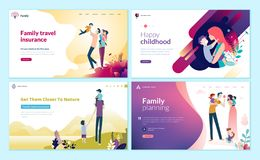 Free Set Of Web Page Design Templates For Family Planning, Travel Insurance, Nature And Healthy Life. Royalty Free Stock Image - 128436556