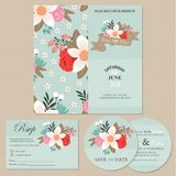 Set Of Wedding Invitation Cards Or Announcements With Flowers