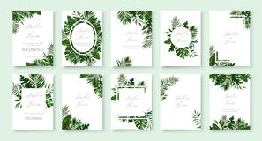 Free Set Of Wedding Invitation With Greenery Tropic Exotic Summer Card Royalty Free Stock Photo - 152097085