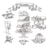 Set Of Wedding Related Sketches And Brush Calligraphy. Includes Wine Glass, Ribbon Banner And Cake Decor Sketch. Royalty Free Stock Photography