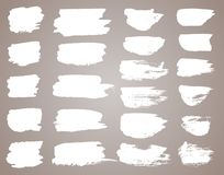 Set Of White Ink Vector Stains. Vector Black Paint, Ink Brush Stroke, Brush, Line Or Round Texture. Dirty Artistic Royalty Free Stock Images