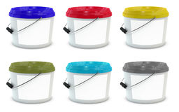 Free Set Of White Plastic Paint Buckets Royalty Free Stock Photo - 98965285
