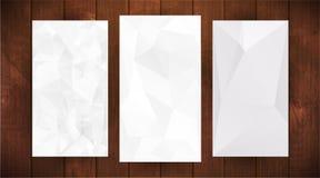 Set Of White Wrinkled Stylized Paper On Wooden Background Stock Image