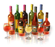 Set Of Wine And Cognac Bottles And Goblets Royalty Free Stock Photos