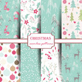 Set Of Winter Seamless Patterns. Royalty Free Stock Images