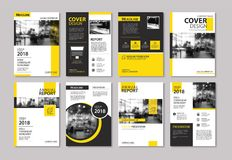 Free Set Of Yellow Cover And Layout Brochure, Flyer, Poster, Annual R Royalty Free Stock Image - 115017396