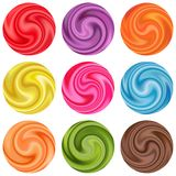 Set Of Yogurt Cream Curl Or Lollipop. Royalty Free Stock Photo