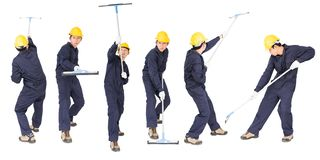 Set Of Young Man Hold Squeegee Window Cleaner Isolated On White Royalty Free Stock Photos