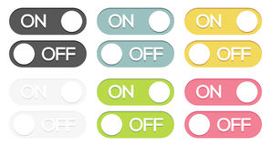 Set of on - off buttons. Set of 6 isolated colorful on - off switches royalty free illustration