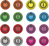 Set on/off colored buttons Royalty Free Stock Image