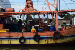 Set off for fishing. Genesis La Nina beginning of his usual rainy season, but in several places in Java is still not raining exploited number of fishermen Royalty Free Stock Photo