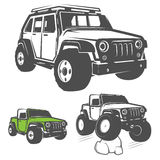 Set of off road car for emblems,logo,design and print. Stock Photos