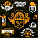 Set off-road suv car emblems, design elements, badges and icons. Royalty Free Stock Photography