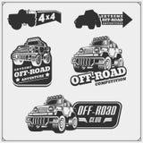 Set of off-road suv car labels,badges and design elements. Safari emblems. Vector Stock Images