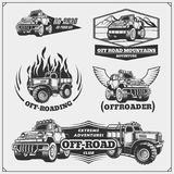 Set of off-road suv car labels, badges and design elements. Safari emblems. Vector Royalty Free Stock Images