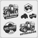 Set of off-road suv car labels,badges and design elements. Safari emblems. Vector Stock Photo