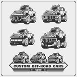 Set of off-road suv car labels, badges and design elements. Safari emblems. Vector Royalty Free Stock Photography