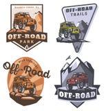 Set of off-road suv car logo. Stock Photo