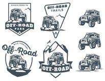 Set of off-road suv car logo. Royalty Free Stock Photos