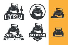 Set of off-road suv car monochrome logo, emblems and badges isolated on white background. Rock crawler car in mountains. vector illustration