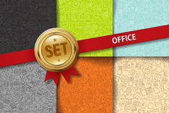 Set of office backgrounds with doodle icons in Royalty Free Stock Images