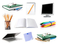 Set office belongings isolated on white Stock Images