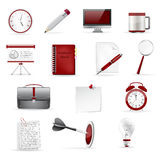 Set of office and business 3D glossy icons. Dark red and gray colors Stock Photography