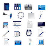 Set of office and business 3D glossy icons. Set of office and business 3D glossy blue web icons Stock Photos