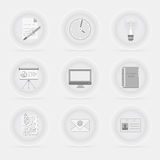 Set of office/business decent gray icons Royalty Free Stock Photos