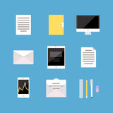 Set of Office and Business icons, letter, tablet. Set of Office and Business icons letter, tablet pc computer folder document mobile phone diagram, analytics Stock Image