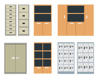 Set of office cabinet and locker in flat style Stock Photography