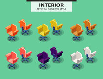 Set of office chairs in isometric style Stock Image