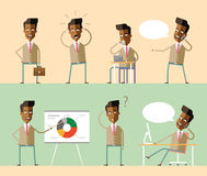 Set office characters. African american managers. Stock Image