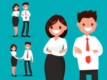 Set office characters. Business couple together and shake hands. Vector illustration of a flat design Stock Image