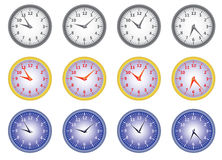 Set of office clocks Royalty Free Stock Photography