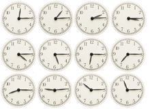 Set of office clocks showing various time isolated on white background royalty free stock images